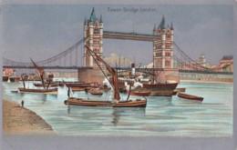 AP66 Tower Bridge, London - Metal Effect Postcard - River Thames