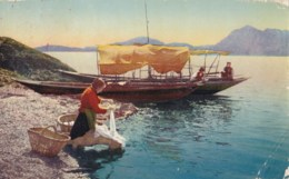 AM43 Italy, Social History - Fishing Boat, Lady Washing In River - Other