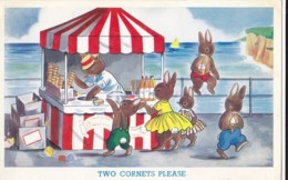 AS77 Artist Drawn - Rabbits Buying Icecream - Contemporary (from 1950)
