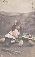 AS77 Children - Young Girl With Chicks - Children And Family Groups