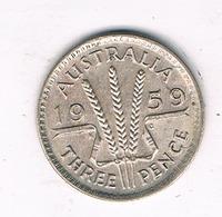 3 PENCE 1959 AUSTRALIE /5943/ - Monnaie Pré-décimale (1910-1965)