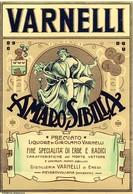 """08478 """"AMARO SIBILLA - PREM. LIQUORE DI GIROLAMO VARNELLI - PIEVEBOVIGLIANA (MC)"""" ETICH. ORIG. - Etichette"""