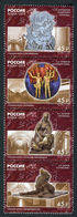 Russia 2019 Strip Monumental Art Of The Moscow Metro Station Architecture Subway Cultures Mosaic Stamps MNH - Sculpture