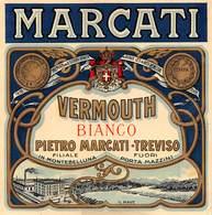 """08479 """"VERMOUTH BIANCO - PIETRO MARCATI - TREVISO"""" ETICH. ORIG. - Etichette"""