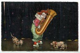 CV2715 BAMBINI PAGLIACCI 1920 Piccolo Clown Che Suona La Tuba, FP, Viaggiata Da Barletta Per Santospirito, Buone Condizi - Cartoline Umoristiche