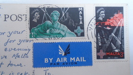 D166561 MALTA  Mosta Dome  Aerial View - Stamps - Ca 1958 - Malte