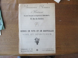 BRASSERIES REUNIES D'HAUTMONT 22 RUE DES BATELIERS BIERES EN FUTS ET EN BOUTEILLES - Reclame