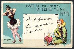 CV2716 PAGLIACCI 1900 Clown Innamorato Che Suona Il Mandolino, Bellissima Cartolina Tedesca, FP, Viaggiata Per Torino, B - Humor