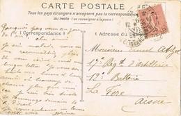 33441. Postal Romantica, Vintage LA FERE (Aisne) 1905. Remite PARIS, Rue Clignancourt. Femme - Francia