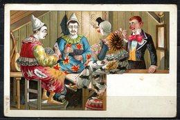 CV2717 PAGLIACCI 4 Clown Che Giocano A Carte, Bellissima Cartolina, FP, Non Viaggiata, Ottime Condizioni - Humor