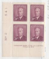 23293) Canada 1949 Geo VI Plate Block Mint No Hinge ** - Unused Stamps