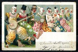 CV2721 PAGLIACCI 1903 Gruppo Di Clown Sorridenti E Tristi, Bellissima Cartolina, FP, Viaggiata Da Modena Per Teramo, Buo - Humor