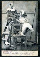 CV2723 PAGLIACCI 1905 Clown Su Una Scala Con Bambina, Cartolina Fotografica, FP, Viaggiata Per Venezia, Buone Condizioni - Humor