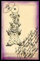 CV2725 PAGLIACCI 1910 3 Clown Uno Sopra L'altro, Bellissima Cartolina Con Disegni In Rilievo, FP, Viaggiata Per Vienna, - Humor