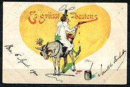 CV2728 PAGLIACCI 1900 Clown Sopra Un Asinello, Bellissima Cartolina, FP, Viaggiata Da Bra Per Torino, Buone Condizioni - Humor