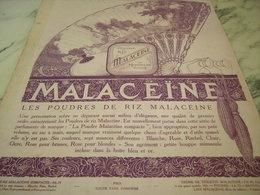 ANCIENNE PUBLICITE POUDRE DE RIZ  MALACEINE DE MONPELAS  1921 - Perfume & Beauty