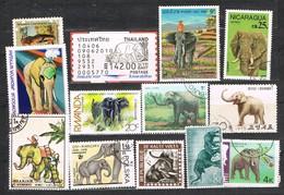 33444. Lote De 13 Sellos Mamiferos ELEFANTES, Elephant º/* - Elefantes