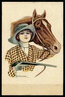 CV2735 CAVALLI DONNINE, 1916, Ill. G. Nanni, Bellissima Cartolina, FP, Viaggiata Da Montecatini A Piacenza, Ottime Condi - Cartoline