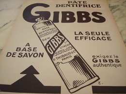 ANCIENNE PUBLICITE PATE  DENTIFRICE GIBBS   1921 - Perfume & Beauty