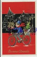 Bonne Année. Petit Garçon  (facteur) à Vélo, Gui, Cadeaux. 1964. M.D. Paris - Nouvel An