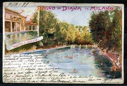 CV2759 MILANO (MI) Bagno Di Diana, Nuoto E Docce, Cartolina Tipo Gruss, FP, Viaggiata 1899 Per La Svizzera, Pieghine Var - Milano