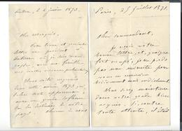 GENERAL CHANGARNIER 1793 - 1877  3 Lettres Autographe 186 . , 1871 , 1873 - Handtekening
