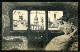 CV2748 NOVARA (NO) Tre Vedute Della Città Dai Finestrini Della 1a Classe Di Un Treno Con Elegante Signora, FP, Viaggiata - Novara