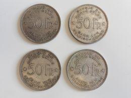 LOT 4x 50 F 1944 Du CONGO BELGE ! 4 Pièces Rares En Argent Belgique Afrique - 1934-1945: Leopold III