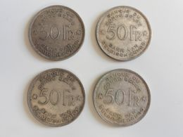 LOT 4x 50 F 1944 Du CONGO BELGE ! 4 Pièces Rares En Argent Belgique Afrique - Congo (Belgian) & Ruanda-Urundi
