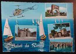 SALUTI DA RIMINI - Barche, Elicottero - Tempio Malatestiano, Arco Di Augusto -  Vg 1960 R2 - Rimini