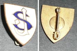 Rare Broche En Métal émaillé, Ecusson, Monogramme, Lettres S & J - Broches