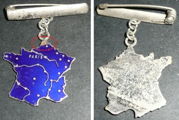 Rare Broche En Métal émaillé, Carte De France Avec Les Fleuves Et Villes Principales - Broches