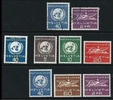 SVIZZERA 1955 - NATIONS UNIES - N. 362 / 68 Nuovi ** 2 Serie Compl. Cat. 31,25 € - Lotto N. 251 - Servizio