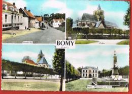 BOMY- Pas De Calais- Multivues- Grande Rue,LEglise,la Place,Mairie -cpsm écrite Au Verso  -Paypal Sans Frais - Autres Communes