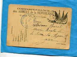 MARCOPHILIE-Guerre 14-18-carte FM -  4 Drapeaux Cad 1915 Cachet HOSPICE  D AIX - Marcophilie (Lettres)