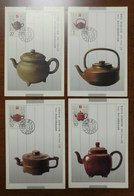 China 1994 Set Of 4 Earthenware Pot Of Yixing Maximum Card,maxi Card,carte Maximum - Art