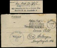 3. Reich - DR Feldpostbrief Lazarettzug 835: Gebraucht Mit Werbestempel Melde Dich Für Den Freiwilligen Ehrendienst Sa - Allemagne