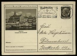 3. Reich - DR GS Postkarte Mit Bild Emden: Gebraucht Mit HJ Austauschlager Lehrerbund Werbestempel Bremen - Delmenhors - Briefe U. Dokumente