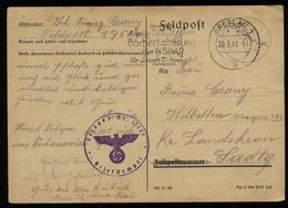 3. Reich - DR Polen Schlesien Feldpost Postkarte : Gebraucht Mit NSDAP Werbestempel Breslau - Landskron 1941 , Bedarfs - Allemagne