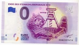 2018-1 BILLET TOURISTIQUE ALLEMAGNE 0 EURO SOUVENIR N°XEBZ003416 ENDE DES STEINKOHLEBERGBAUS 2018 - EURO