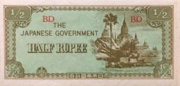 Burma 1/2 Rupee, P-13b (1942) - AUNC - Myanmar