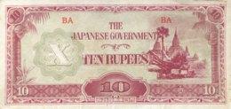 Burma 10 Rupees, P-16a (1942) - Very Fine - Myanmar