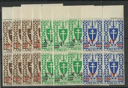 1945 Cameroun, France Libre, Série 266/ 273 Neufs ** MNH Bloc De 4, Cote YT 37€ 44 - Cameroun (1915-1959)