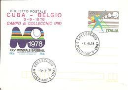 ITALIA - 1978 COLLECCHIO (PR) Ann. Ord. + Timbro Rosso CUBA-BELGIO Campo Collecchio Su BP XXV Mond. Baseball - Baseball