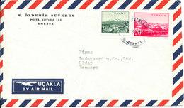 Turkey Air Mail Cover Sent To Denmark (the Cover Is Bended) - 1921-... Republic