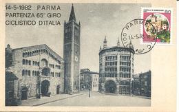 ITALIA - 1982 PARMA Ann. Ordinario PARMA CP - C Su Cartolina Illustrata Sovrast. Partenza 65° Giro Ciclistico D'Italia - Ciclismo