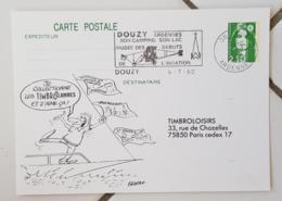FRANCE Avions, Avions, Plane. Obliteration Temporaire Sur Entier Postal: DOUZY Musée Des Debuts De L'aviation 4/7/90 - Airplanes