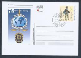 Postal Stationery Da Interpol. Policia Judiciária. Espada. Balança. Interpol Postal Stationery. Judiciary Police. Sword. - Politie En Rijkswacht