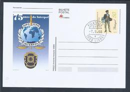 Postal Stationery Da Interpol. Policia Judiciária. Espada. Balança. Interpol Postal Stationery. Judiciary Police. Sword. - Polizia – Gendarmeria