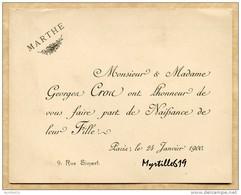 Faire Part De Naissance 1900 - Marthe Cros - Faire-part